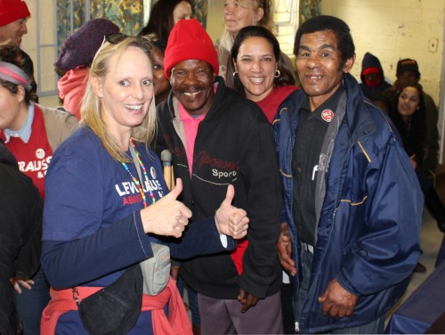 Dominique volunteers with residents in Haven Night Shelter, Cape Town