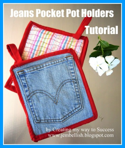 Jeans Pocket pot holders tutorial
