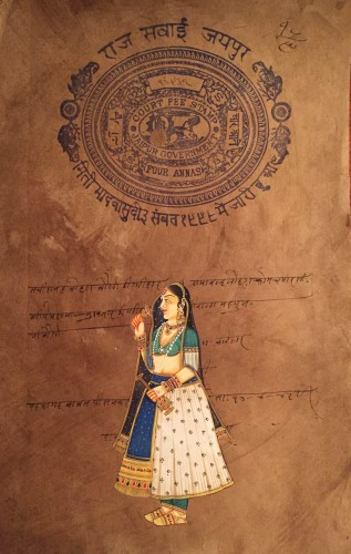 Painting of a Hindi woman in royal attire, including leggings, which I purchased in Jaipur.