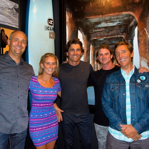 "Pictured (left to right): Kevin Whilden, co-founder of Sustainable Surf; Alison Teal, athlete ambassador and reality TV star of Discovery Channel's Naked and Afraid; Greg Long, athlete ambassador and the world's most decorated big wave surfer in history; Alex Gray, athlete ambassador, surf media personality, and big wave champion surfer; Michael Stewart, co-founder of Sustainable Surf (in his ""fave Levi's Trucker Jacket"")."