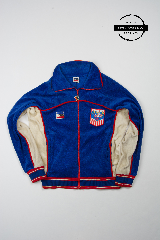 Velour track suit jacket, unisex, 1984 Olympics