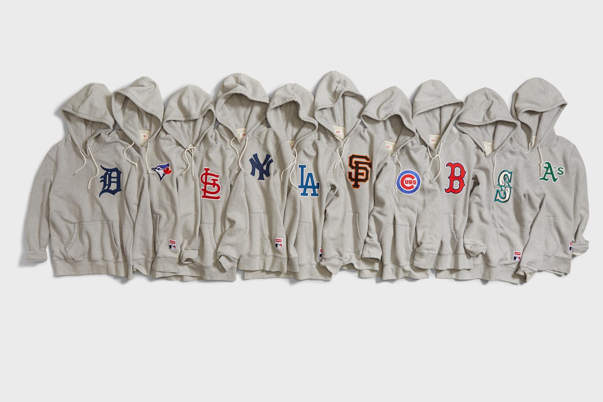 Men/'s S Levi/'s MLB Boston Red Sox Crewneck Sweatshirt Gray-Red